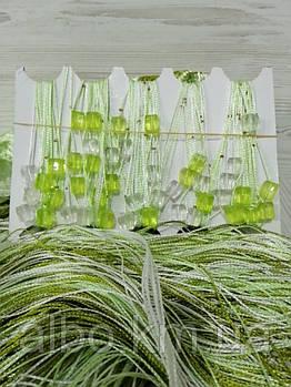 Кисея шторы нити с камнями радуга 300x280 cm Бело-салатово-оливковые (NK-303)
