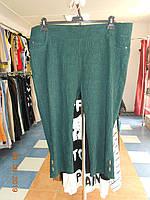 Бриджи батальные зеленого цвета из шикарной ткани-жатки со стречем Triesta, фото 1