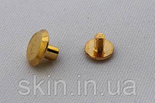 Винт ременной, диаметр шляпки - 10 мм, высота - 5 мм, диаметр ножки - 4 мм, цвет - золото, арт. СК 5041