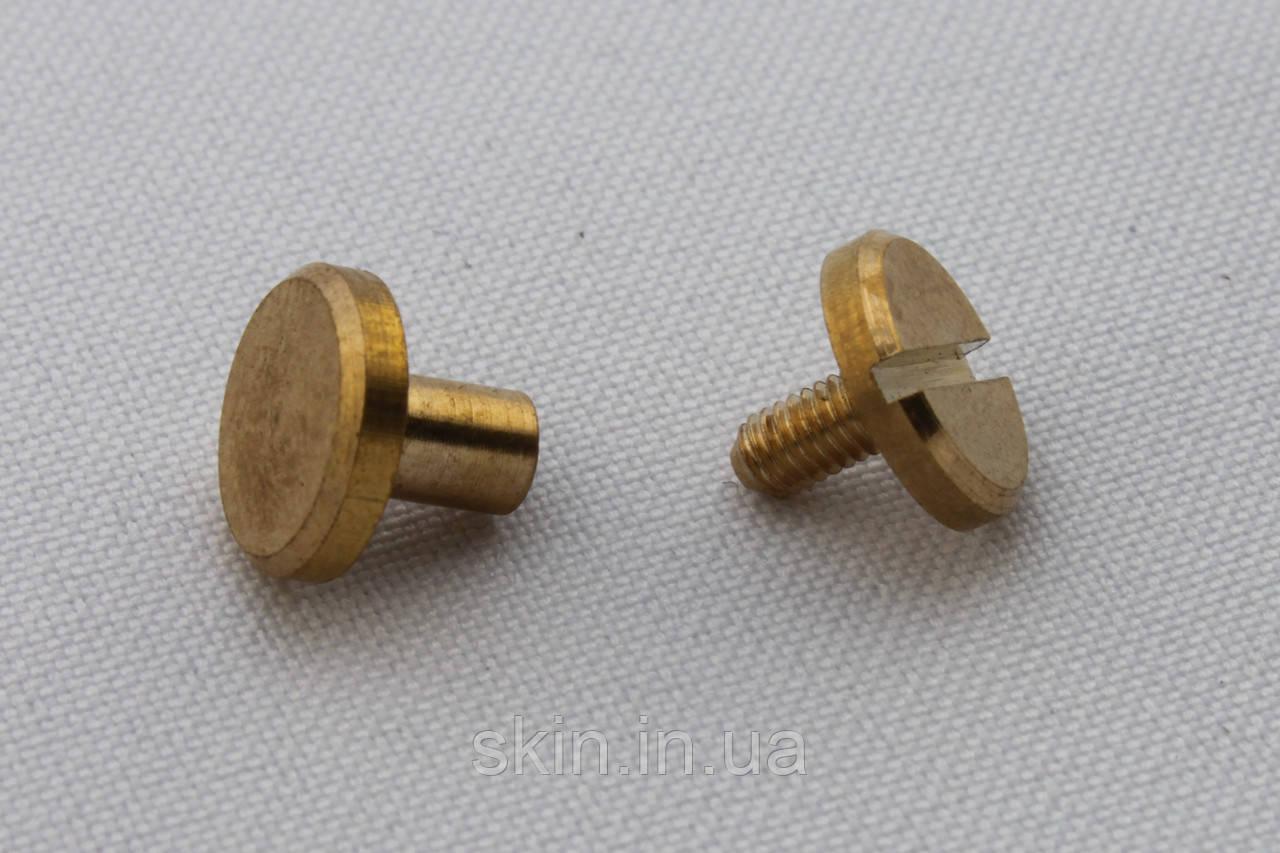 Латунный ременной винт, диаметр шляпки - 10 мм, высота - 6 мм, диаметр ножки - 4 мм, артикул СК 5266