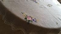 """Скатертина лляна """"Квіткова"""" на овальний стіл ручна вишивка 350*180 см"""