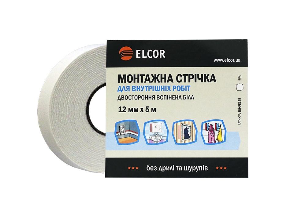 Двостороння  вспінена монтажна стрічка для внутрішніх робіт ELCOR TRIXPE125 12мм*5м біла