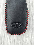 Гарна шкіряна ключниця Hyundai чорна Люкс Автомобільний брелок для ключів Стильний VIP Хюндай копія, фото 2