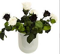 Букет роз Чёрное и белое