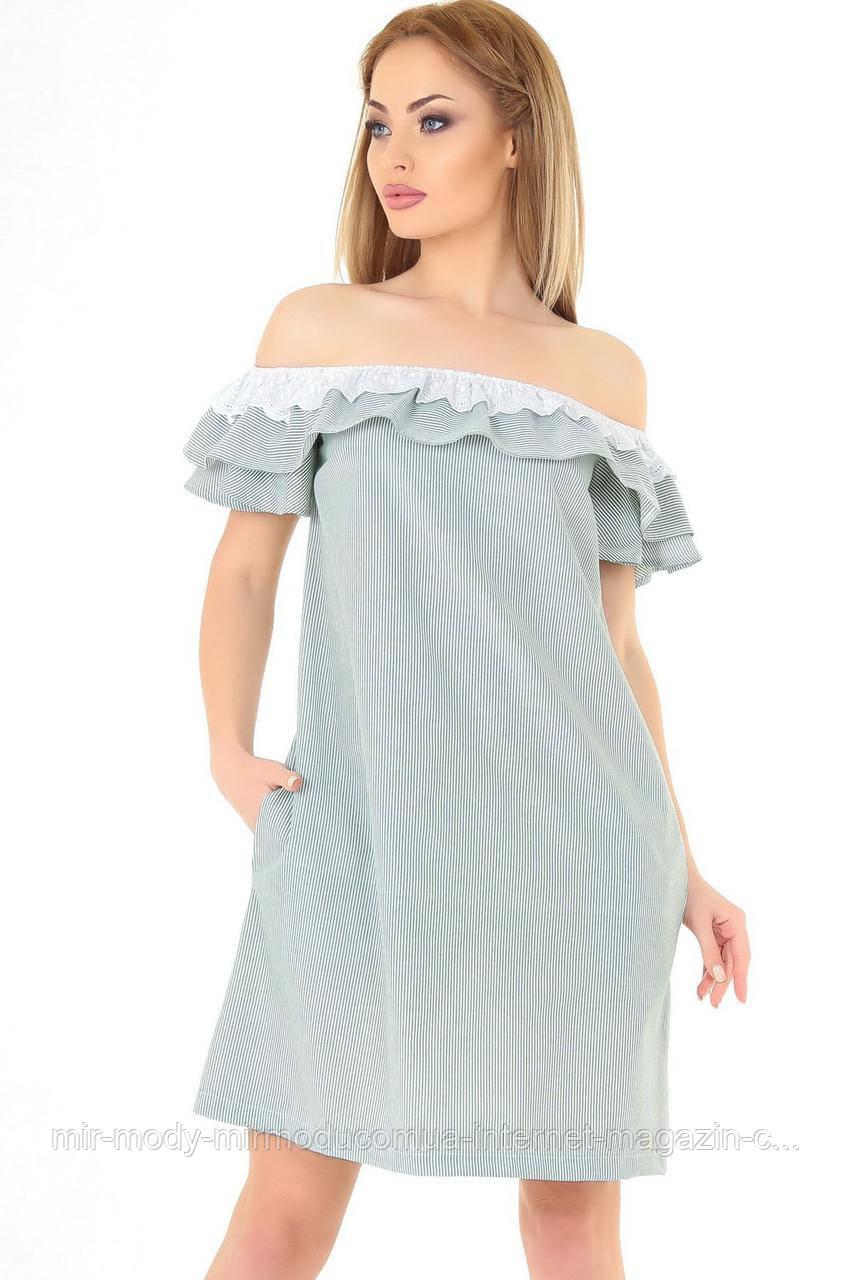 Повседневное платье трапеция зеленой полоски   размер 42-48  (влн)