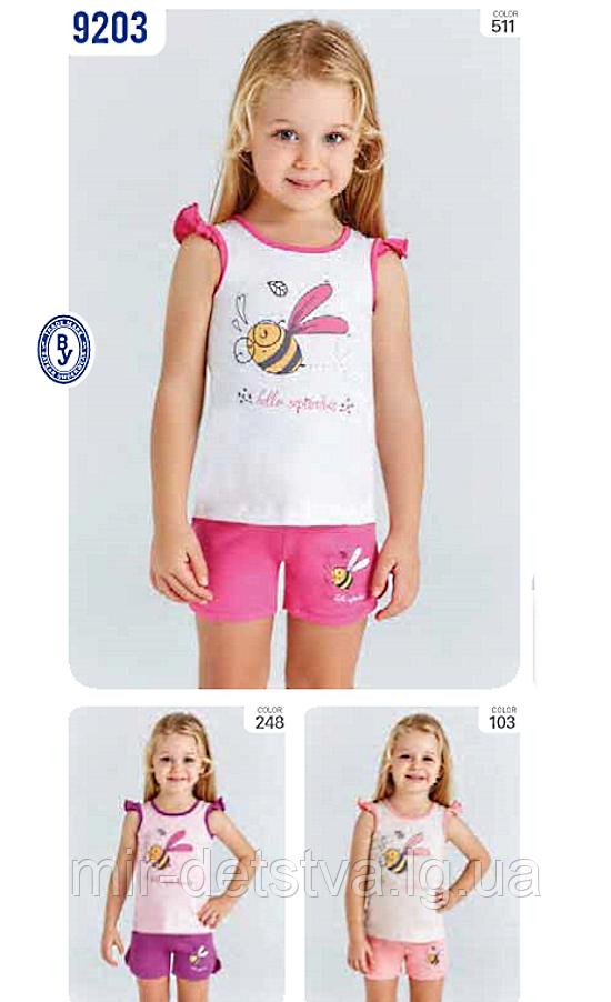 Костюм (майка+шорты) для девочки ТМ Baykar р.3-6 лет (4 шт в ростовке) белый+малина