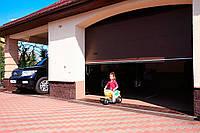 Гаражные секционные ворота ALUTECH серия TREND. Размер 5500х2000 мм. Цвет коричневый RAL 8014. S-гофр, фото 1