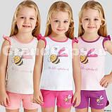 Костюм (майка+шорты) для девочки ТМ Baykar р.3-6 лет (4 шт в ростовке) белый+малина, фото 2