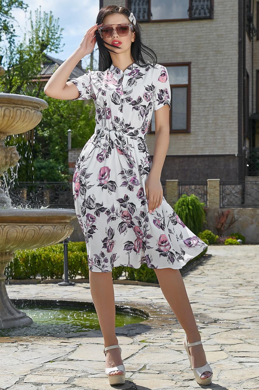 Женственное летнее платье в розах 1168 (44–50р) в расцветках