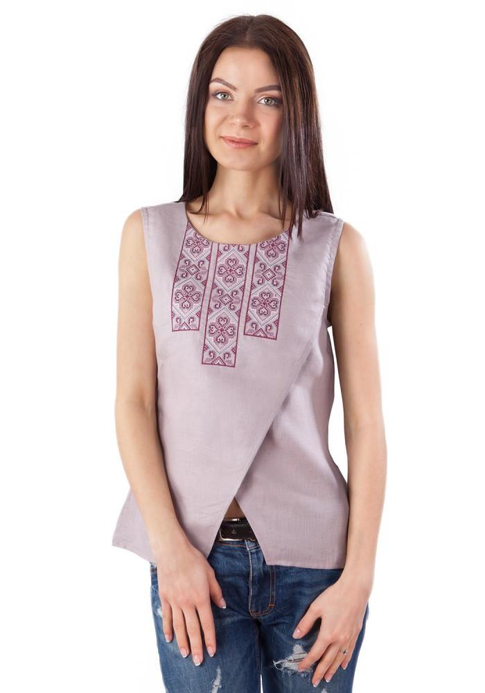 Женская вышиванка без рукавов. 100% лен