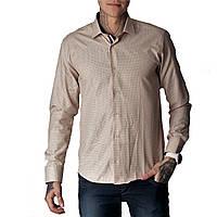 Мужская рубашка приталенная G 1271006 бежевая, фото 1
