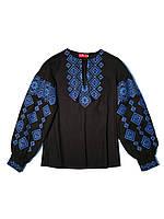 Женская черная льняная рубашка с синей вышивкой Гуцулка Ксения  MOTYV  by Piccolo L
