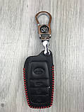Хайповая кожаная ключница Toyota черная Люкс Автомобильный брелок для ключей Молодежный Тойота копия, фото 3