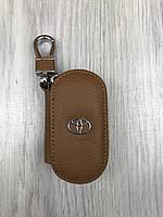 Молодежная кожаная ключница Toyota коричневая Люкс Автомобильный брелок для ключей Стильный Тойота копия, фото 1
