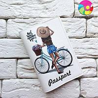Обложка на паспорт Девочка с велосипедом