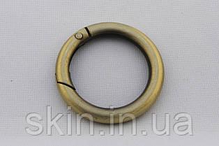 Кольцо-Карабин, внутренний диаметр 30 мм, толщина 6 мм, цвет - антик, артикул СК 5133