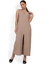 Бежеву сукню максі з льону з розрізом розміри від XL ПБ-131