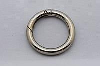 Кольцо-карабин, внутренний диаметр 30 мм, толщина 6 мм, цвет - никель, артикул СК 5042