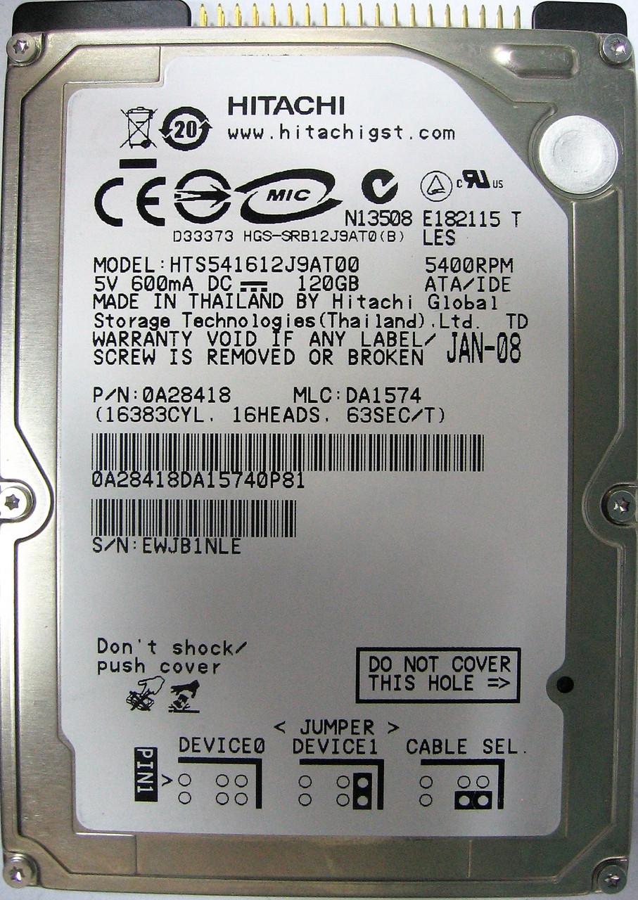 HDD 120GB 5400rpm 8MB IDE 2.5 Hitachi HTS541612J9AT00 EWJB1NLE