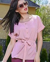 Женская блузка с коротким рукавом и поясом (3514-3510-3512 svt), фото 2
