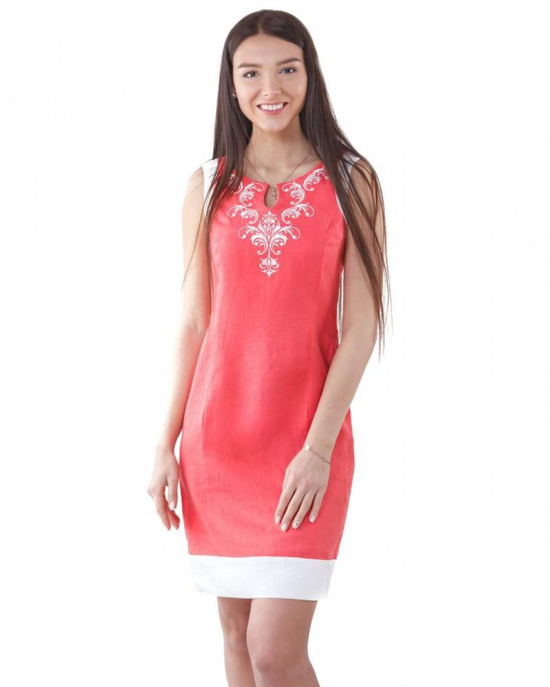Платье с вышивкой.100% лён