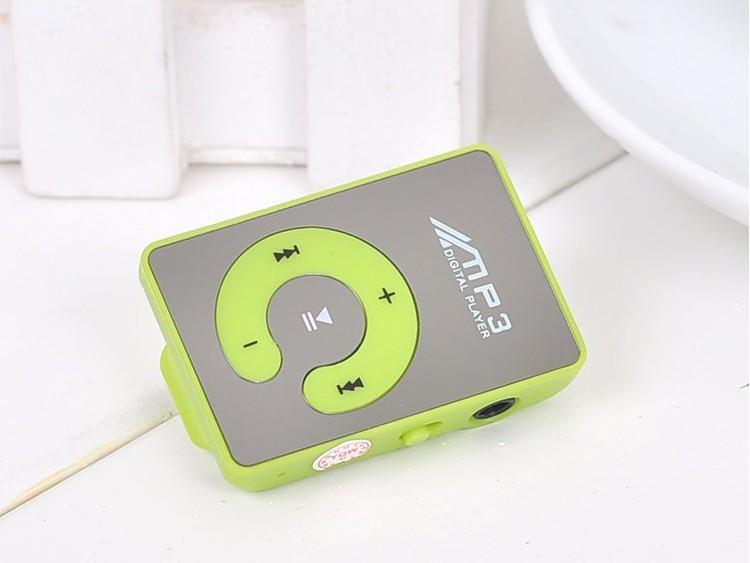 Зеркальный MP3 плеер клипса зеленый