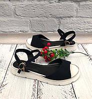 Летние босоножки без каблука женские замша черные Uk0595