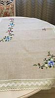 """Скатертина сіра лляна """"Весняна квітка"""" на прямокутний стіл ручна вишивка 274*180 см"""