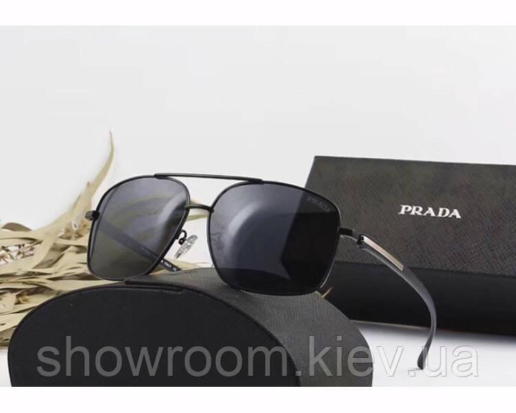 Мужские солнцезащитные очки с поляризацией в стиле Prada (98001) black