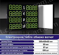 Светодиодное табло обмен валют одностороннее 500х400 мм LED-ART-500х400-1