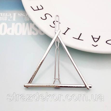 Заколка для волос фигура Треугольник (цвет серебро), фото 1