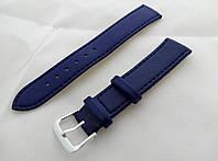 Ремешок к часам синий, кожаный, анти-аллергенный