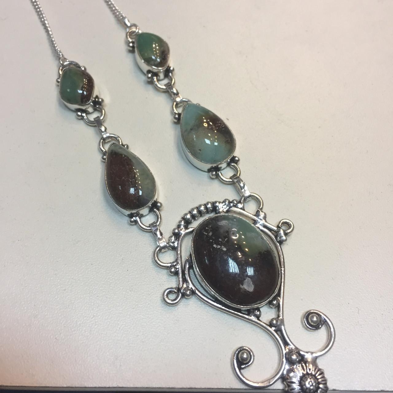 Хризопраз ожерелье с природным хризопразом в серебре Индия не стекло