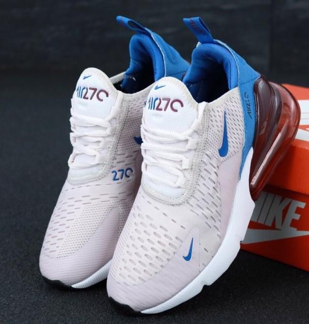 Женские кроссовки Nike Air Max 270 пудровые с синим. Живое фото