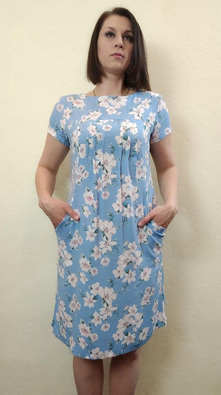 Женское летнее платье-туника с карманами из стрейч-льна П57