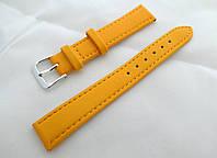 Ремешок к часам кожаный, желтый анти-аллергенный