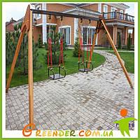 Качели на гибкой подвеске с деревянными стойками двухместные игровые комплексы для детей на улицу