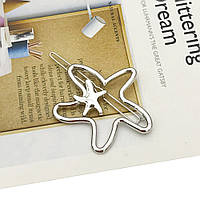 Заколка для волос Морская звезда (цвет серебро), фото 1