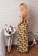 Длинный летний сарафан с открытыми плечами и спиной жёлтый с цветочным принтом