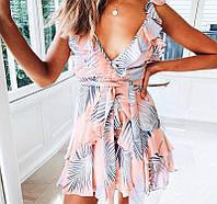Женское летнее платье с цветочным принтом шифоновое, короткое с поясом и открытой спиной