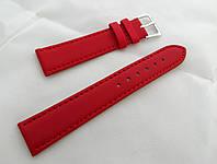 Ремешок к часам кожаный, красный анти-аллергенный