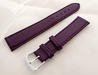 Ремешок к часам кожаный, фиолетовый анти-аллергенный