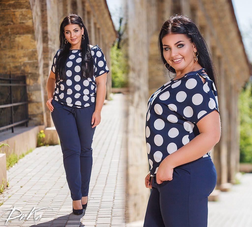 Блуза  с Брюками50-52.54-56 синий низ +верх белый горох.синий низ+ верх синий горох .сини низ+верх поло