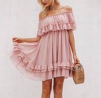 Женское летнее гофрированное шифоновое платье с открытыми плечами, свободного кроя