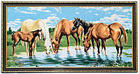 """Картина-гобелен """"Лошади на водопое"""" 80х40 см"""
