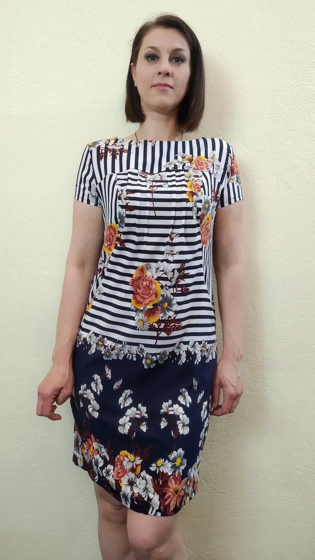 Женское летнее платье-туника с карманами и купоном П57