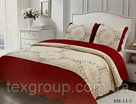 Покрывало стеганое из коттона с двумя наволочками купить в спальню бордовый цветок ромб