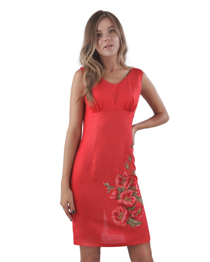Красное платье с вышивкой.100% лён