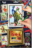 Раскраска по номерам Карандашами 5 рисунков. Павлин Danko-Toys