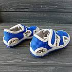 Сандалии с защитой носка мальчикам, р. 23, 27, 28, 30. Синие, текстильные, закрытые босоножки, фото 2
